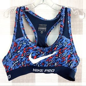 Nike Pro Dri-Fit Girls Sports Bra Blue Red Sz XS